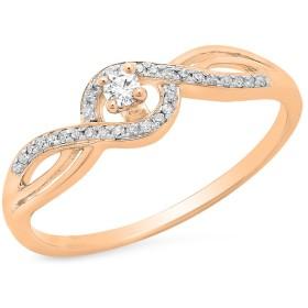 0.15カラットCTW10Kゴールドラウンドホワイトダイヤモンド旋回分割シャンクブライダルプロミス婚約リング