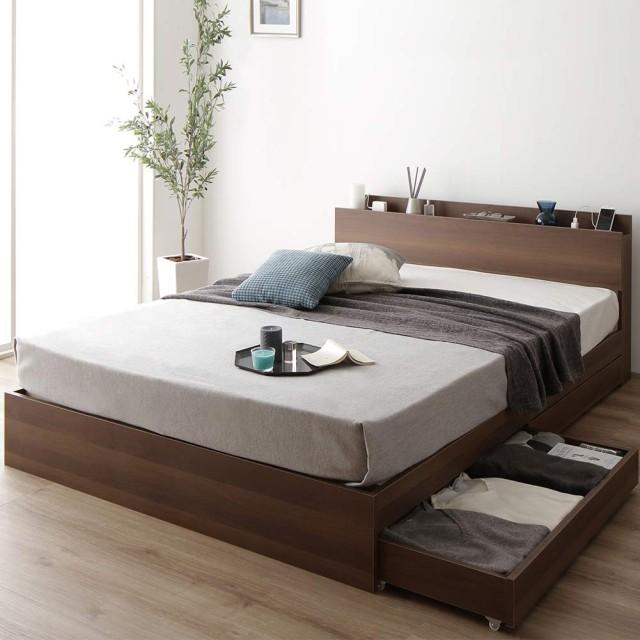 ベッド 収納付き シングル ブラウン ベッドフレーム ハイクオリティモダン 木製ベッド キャスター付き 引き出し付き 宮付き コンセント付き