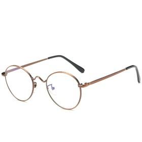 Fuyingda ラウンドメタルフレームレトロクリアレンズ眼鏡 強度のニュートラルな反青色のメガネ