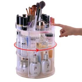 コスメメイクボックススタンドホルダータワー型 化粧品収納ボックス 回転式クリアアクリル製