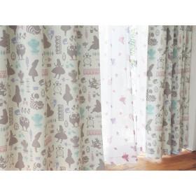 [ベルメゾン] ディズニー カーテン 4枚 セット 遮光 UVカット ミラー レースカーテン 洗える ふしぎの国のアリス 約100×178(4枚)