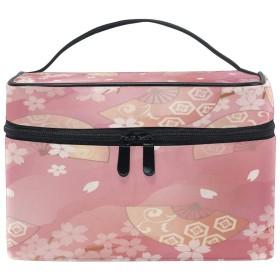 Anmumi 化粧ポーチ メイク ポーチ ボックス 収納ケース 仕切り 花柄 桜 扇子 手提げ 大容量 かわいい おしゃれ レディース 女の子 機能的 小物入れ 旅行 出張 プレゼント