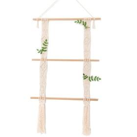 収納ラック 寝室の壁の装飾ロープで木の壁の棚を設計壁にマウントされたパーティションシェルフ壁掛けの棚板居間の棚(50cmX80cm)