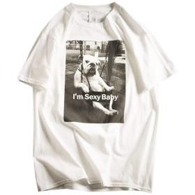 CUBCBIIS 夏のメンズルーズコットン通気性の子犬柄半袖Tシャツ (Color : White, Size : L)