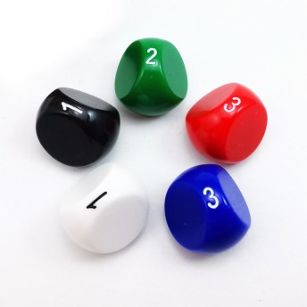 Bescon New Style Polyhedral Dice 3-sided Gaming Dice, D3 die, D3 dice, 3 Sides Dice, 3 Sided Cube, 5 Assorted Opaque Color