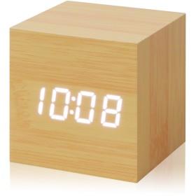 ottostyle.jp ウッド調 LEDデジタル置き時計 [Piccolo] 【ナチュラル】 木目調 目覚まし時計 キューブ型 3モード切替表示 アラーム カレンダー 明るさ調整 USB コンセント 電池