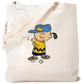 CafePress–CharlieブラウンGolfer–ナチュラルキャンバストートバッグ、布ショッピングバッグ S ベージュ 0653610429DECC2