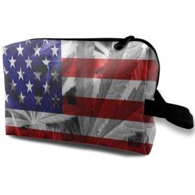 アメリカ国旗の葉 ポーチ 旅行 化粧ポーチ 防水 収納ポーチ コスメポーチ 軽量 トラベルポーチ25cm×16cm×12cm