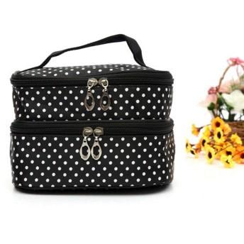 女性の化粧品袋 防水メイク 洗っ 旅行ケース ボックス ミラー付き-Negro A 20x11.5x13.5cm(8x5x5inch)
