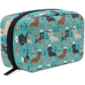 ダックスフント 海軍 化粧ポーチ メイクポーチ 機能的 大容量 化粧品収納 小物入れ 普段使い 出張 旅行 メイク ブラシ バッグ 化粧バッグ