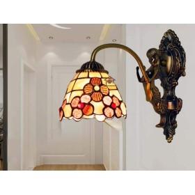 ヴィンテージティファニースタイルの壁ランプの壁取り付け用燭台、ナチュラルシェルシェード壁取り付け用燭台照明器具ブロンズ金属ベースキッチン島ダイニングルーム,B