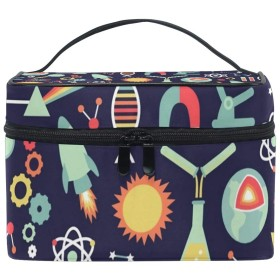 メイクボックス 科学柄 化粧ポーチ 化粧品 化粧道具 小物入れ メイクブラシバッグ 大容量 旅行用 収納ケース