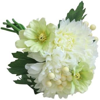 ボコダダ(Vocodada)造花 枯れない花 手持ちの花 ミニローズダリアバンチ 人工花 偽花 花束 インテリア造花 アートフラワー 置物 薔薇 記念日 お祝い 母の日プレゼント お祝い 結婚式ブーケ バレンタインギフト 誕生日 母の日 結婚式 花嫁ブーケ 飾り 贈り物 1本売り 選べる4色 (グリーン)