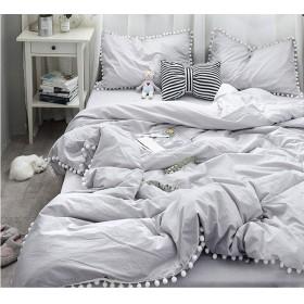 ライトグレー寝具カバー/可愛いホワイトポンポン掛け布団カバー シングルと枕カバー2枚