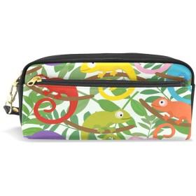 ALAZA カラフル サボテン 鉛筆 ケース ジッパー Pu 革製 ペン バッグ 化粧品 化粧 バッグ ペン 文房具 ポーチ バッグ 大容量