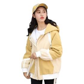 REHOODN レディース ジャケット コート フード付き 秋冬 長袖 防寒コート ミリタリージャケット ゆったり かわいい きれいめ 厚手 暖かい おしゃれ アウターイエローK