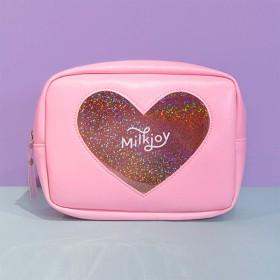 Zhiop ポーチ けしょう ビニール 防水 化粧ポーチ 大容量 かわいい 透明 ピンク 可愛い 旅行 携帯用 レディース レーザー ラブ