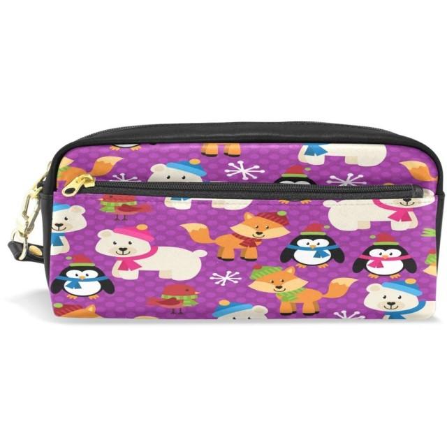 ALAZA 冬 シロクマ フォックス 鉛筆 ケース ジッパー Pu 革製 ペン バッグ 化粧品 化粧 バッグ ペン 文房具 ポーチ バッグ 大容量