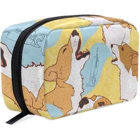 コーギー 化粧ポーチ メイクポーチ 機能的 大容量 化粧品収納 小物入れ 普段使い 出張 旅行 メイク ブラシ バッグ 化粧バッグ