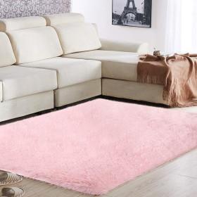 スーパーソフトエリアラグ 160×120 cm シルキーベッドルームマット 滑り止めの豪華なフロアカーペット リビングルームベッドルームキッズルーム保育園、 ピンク