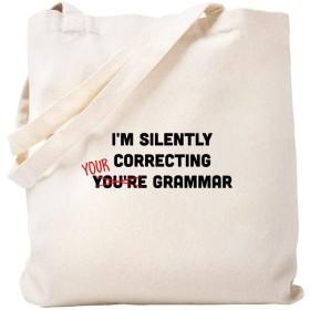 CafePress I'm Silently Correcting Your Grammar トートバッグ S ベージュ 0088300700DECC2