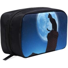 LKCDNG メイクポーチ 猫 月 ボックス コスメ収納 化粧品収納ケース 大容量 収納 化粧品入れ 化粧バッグ 旅行用 メイクブラシバッグ 化粧箱 持ち運び便利 プロ用