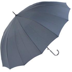 風に強い16本骨×グラスファイバー骨仕様! 撥水効果の高いデュポン社のテフロン加工生地×手元は上品な合皮巻き おしゃれな婦人傘 使いやすさ抜群の直径104cm 60cm 手開き傘 (紺)