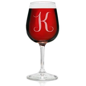 On The Rox Drinks Engraved Wine Glass, 12.75 K-Monogram [並行輸入品]