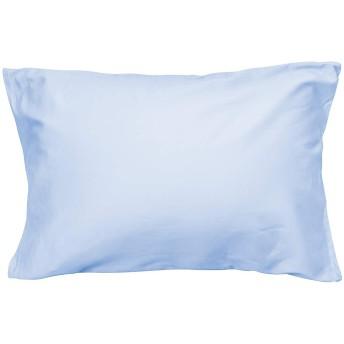 枕カバー 高級綿100% サテン織り 300本高密度生地 防ダニ 抗菌 防臭 ホテル品質 封筒式 滑らか 柔らかい ピローケース 43×63cm ライトブルー