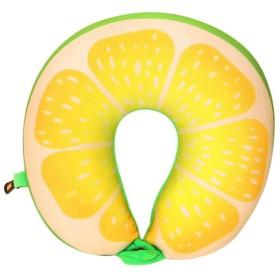 BOLUORY ネックピロー 旅行用 U型枕 低反発 持ち運びやすい トラベル 携帯枕 飛行機 バス オフィス 自宅用 (レモン)