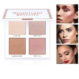 Makeup Glitter Highlighter Palette 4 Color Shimmer Brilliant Pink Nude Highlighter Powder Face Illuminator Glow Kit ハイライトイルミネーターフェイスメイクアップライターライターハイライターパウダーパレットブロンザーグローキット化粧
