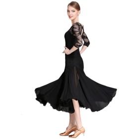 社交ダンスドレス女性用パフォーマンスレースシフォンレース長袖ナチュラルドレスモダン練習コスチュームスプリットビッグスイングスカート (Color : Black, Size : L)
