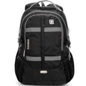 リュック 旅行バッグ 登山リュック 通勤用 バッグ SUISSEWIN SN8350 メンズ スクエアリュック 通学/通勤対応 ノートPC・iPad・タブレット収納 15インチまで対応 A4書類収納可アウトドア (ブラック)