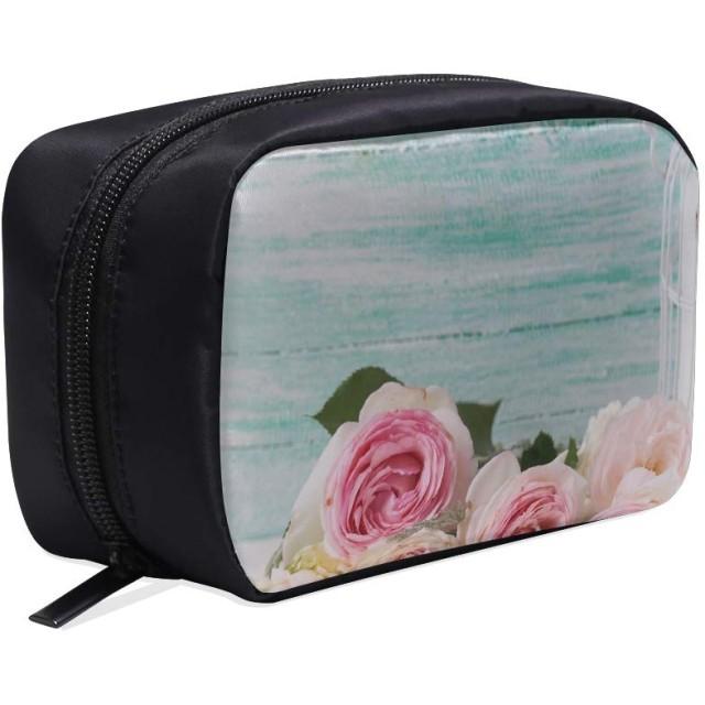 GXMAN メイクポーチ ピンクの花 ボックス コスメ収納 化粧品収納ケース 大容量 収納 化粧品入れ 化粧バッグ 旅行用 メイクブラシバッグ 化粧箱 持ち運び便利 プロ用