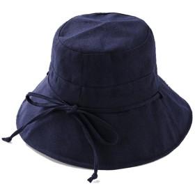 KUKUYA(ククヤ) 帽子 漁夫帽 UVカット帽子 日焼け止め 紫外線対策 熱中症対策 コットン ネックカバー リボン サイズ調節 つば広 折りたたみ可能 レディース おしゃれ 春夏 5色