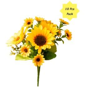]ヒマワリ 造花 人工観葉植物 造花 光触媒 フェイクグリーン インテリア ギフト お祝い (O-Sunflower-M 10 Bunch)