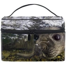 メイクポーチ ボックス 小物入れ 仕切り 旅行 出張 持ち運び便利 コンパクト水中の泡シール口ひげの銃口