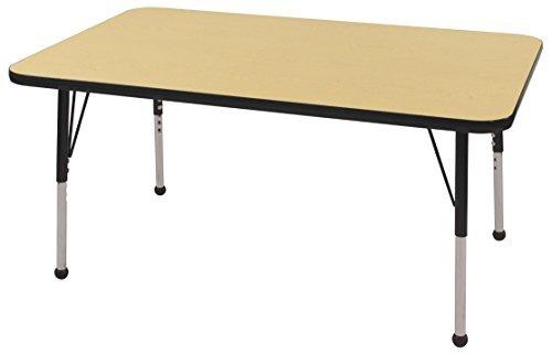 Standard Legs w//Swivel Glides Adjustable Height 19-30 inch ECR4Kids T-Mold 36 x 72 Half Moon Activty School Table Maple//Black