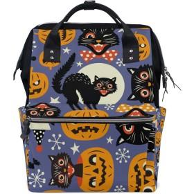 ママリュック ハロウィーン 猫 カボチャ ミイラバッグ デイパック レディース 大容量 多機能 旅行用 看護バッグ 耐久性 防水 収納 調整可能 リュックサック 男女兼用