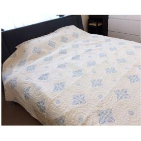 清涼感のある風合い マルチキルトカバー200×250cm(約3帖) (ブルー)