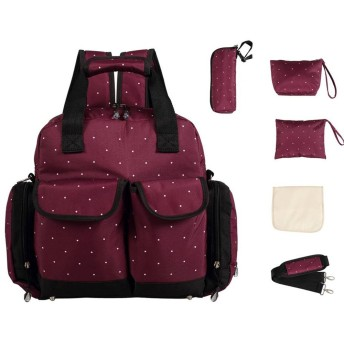 LCY Large 5pcs Backpack Diaper Bag 3 Carrying Options Wine Dots by LCY