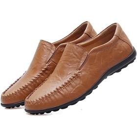 [eleitchtee] メンズシューズ スリッポン レザー ローファー ドライビングシューズ 大きいサイズ メンズ靴 カジュアルシューズ 軽量 通気性抜群015-knyf-h1599(25 ダークブラウン)