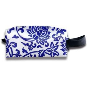 中国の花の青と白 化粧ポーチ メイクポーチ ミニ 財布 機能的 大容量 アイシャドー 化粧品収納 小物入れ 普段使い 出張 旅行 メイク ブラシ バッグ ポータブル 化粧バッグ