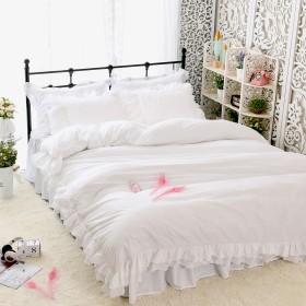 綿100%ホワイト寝具カバー 肌掛け布団カバー/枕カバー2枚 セミダブル