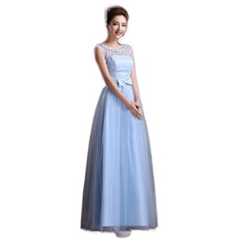 【シンプル 小花 ロングドレス】水色とピンクと二種類から選べます。S〜XLまでサイズ豊富 コンサート パーティ 謝恩会などに (L, ピンク色)