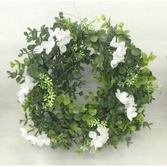 玄関飾り 造花★ユーカリ×ハイドランジア(ホワイト) リース28cm