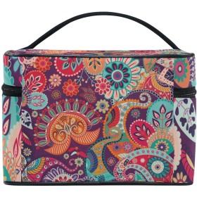 ユキオ(UKIO) メイクポーチ 大容量 シンプル かわいい 持ち運び 旅行 化粧ポーチ コスメバッグ 化粧品 抽象 花柄 欧米 レディース 収納ケース ポーチ 収納ボックス 化粧箱 メイクバッグ