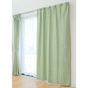 風通織 遮光 洗える ドレープ&レースカーテンセット『 フロル 』【IT】【tm】幅100×丈120cm グリーン(#9810822) 4枚組 選べる4色、10サイズ展開