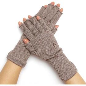 [841(ヤヨイ)] 指なし 手袋 絹 日本製 【上質シルク ハンドウォーマー プレミアムMAX】 ベージュ MAX2