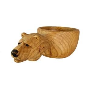 手作りのアイアンマンククサ - 手彫りの木製コーヒーマグ - ベア - 栗の木